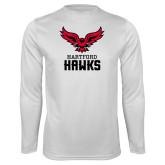 Performance White Longsleeve Shirt-Hartford Hawks w/ Hawk Stacked