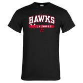 Black T Shirt-Hawks Lacrosse Arched