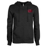ENZA Ladies Black Fleece Full Zip Hoodie-Primary Logo Mark H