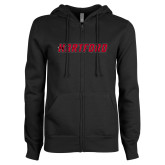 ENZA Ladies Black Fleece Full Zip Hoodie-Hartford Logotype