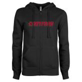 ENZA Ladies Black Fleece Full Zip Hoodie-Hartford Logotype