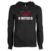ENZA Ladies Black Fleece Full Zip Hoodie-Hartford w/ Hawk Combination Mark