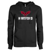 ENZA Ladies Black Fleece Full Zip Hoodie-Hartford w/ Hawk Combination Mark