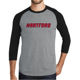 Grey/Black Tri Blend Baseball Raglan-Hartford Logotype