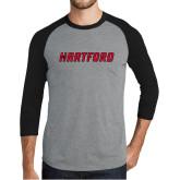 Grey/Black Tri Blend Baseball Raglan-Hartford Logotype
