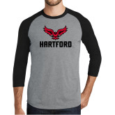 Grey/Black Tri Blend Baseball Raglan-Hartford w/ Hawk Combination Mark