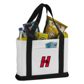 Contender White/Black Canvas Tote-Primary Logo Mark H