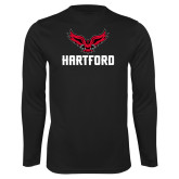 Performance Black Longsleeve Shirt-Hartford w/ Hawk Combination Mark