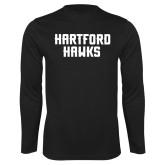 Performance Black Longsleeve Shirt-Hartford Hawks Stacked