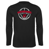 Performance Black Longsleeve Shirt-Hartford Hawks Basketball Arched w/ Ball