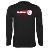 Performance Black Longsleeve Shirt-Hawks Baseball w/ Flying Ball