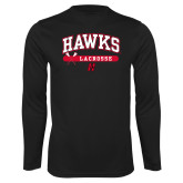 Performance Black Longsleeve Shirt-Hawks Lacrosse Arched