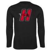 Performance Black Longsleeve Shirt-Primary Logo Mark H