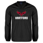 V Neck Black Raglan Windshirt-Hartford w/ Hawk Combination Mark