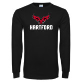 Black Long Sleeve TShirt-Hartford w/ Hawk Combination Mark