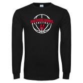 Black Long Sleeve TShirt-Hartford Hawks Basketball Arched w/ Ball