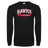 Black Long Sleeve TShirt-Hawks Lacrosse Arched
