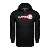 Under Armour Black Performance Sweats Team Hoodie-Hawks Baseball w/ Flying Ball