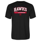 Performance Black Tee-Hawks Lacrosse Arched