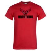Red T Shirt-Hartford w/ Hawk Combination Mark