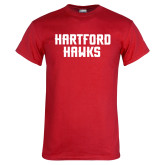 Red T Shirt-Hartford Hawks Stacked