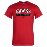 Red T Shirt-Hawks Lacrosse Arched