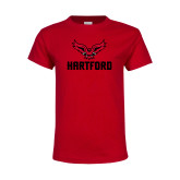 Youth Red T Shirt-Hartford w/ Hawk Combination Mark