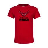 Youth Red T Shirt-Hartford Hawks w/ Hawk Stacked