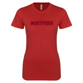 Next Level Ladies SoftStyle Junior Fitted Red Tee-Hartford Logotype