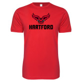 SoftStyle Red T Shirt-Hartford w/ Hawk Combination Mark