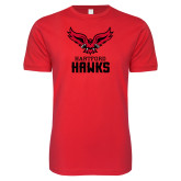 SoftStyle Red T Shirt-Hartford Hawks w/ Hawk Stacked