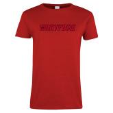 Ladies Red T Shirt-Hartford Logotype