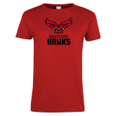 Ladies Red T Shirt-Hartford Hawks w/ Hawk Stacked