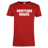Ladies Red T Shirt-Hartford Hawks Stacked