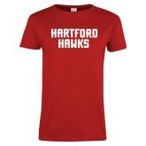 Ladies Red T Shirt-Hartford Hawks Stacked