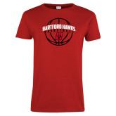 Ladies Red T Shirt-Hartford Hawks Basketball Arched w/ Ball