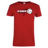 Ladies Red T Shirt-Hawks Baseball w/ Flying Ball