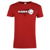 Ladies Red T Shirt-Hawks Baseball w/ Flying Ball