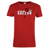 Ladies Red T Shirt-Hartford Hawks Soccer Swoosh