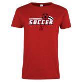 Ladies Red T Shirt-Hartford Hawks Soccer Swoosh