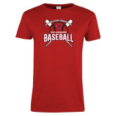 Ladies Red T Shirt-2018 Baseball Champions