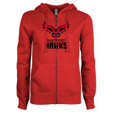 ENZA Ladies Red Fleece Full Zip Hoodie-Hartford Hawks w/ Hawk Stacked