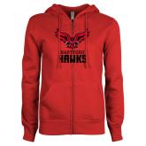 Ladies Red Fleece Full Zip Hoodie-Hartford Hawks w/ Hawk Stacked