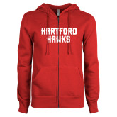 ENZA Ladies Red Fleece Full Zip Hoodie-Hartford Hawks Stacked
