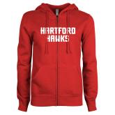 Ladies Red Fleece Full Zip Hoodie-Hartford Hawks Stacked
