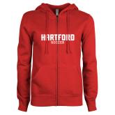 Ladies Red Fleece Full Zip Hoodie-Soccer