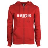 Ladies Red Fleece Full Zip Hoodie-Golf