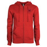 ENZA Ladies Red Fleece Full Zip Hoodie-Primary Logo Mark H