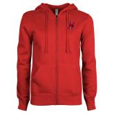 Ladies Red Fleece Full Zip Hoodie-Primary Logo Mark H