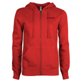 ENZA Ladies Red Fleece Full Zip Hoodie-Hartford Logotype